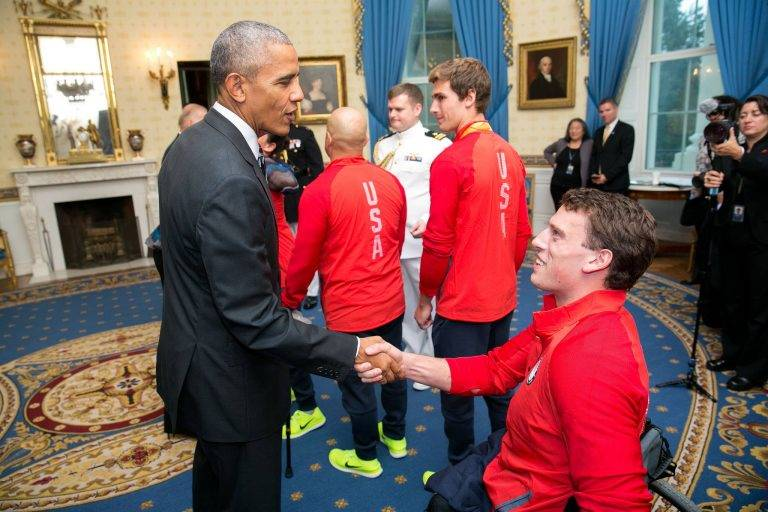 Blake shaking hands with President Obama
